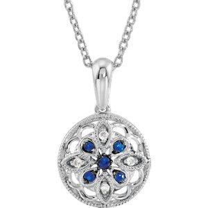 Blue Sapphire & Diamond Geometric Necklace