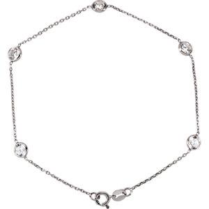 "14K White Cubic Zirconia 7"" Bracelet"