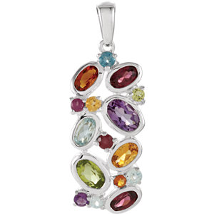 Multi-Gemstone Pendant or Necklace
