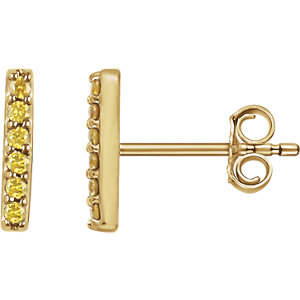 14kt Yellow 1/1  ATW<br> Yellow Diamond Vertical<br> Bar Earrings