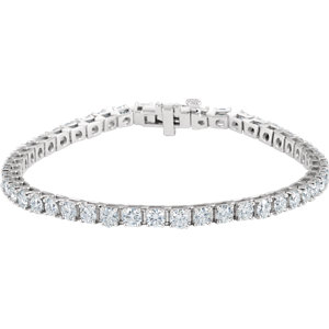 "18K White 7 CTW Diamond Line 7.25"" Bracelet"