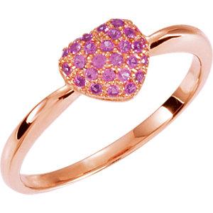 Genuine Pink Sapphire Heart Ring Ref 650132