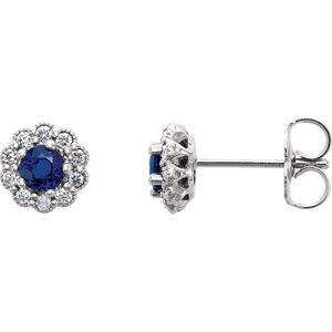 14kt White Blue Sapphire<br> & 1/6 ATW Diamond<br> Earrings