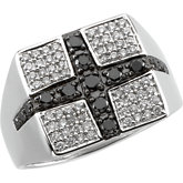 3/4 ct tw Gent's Black & White Diamond Ring