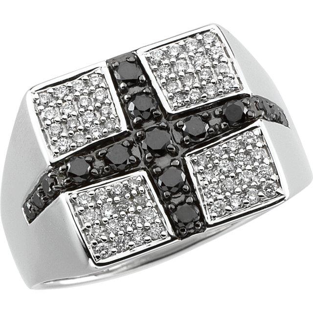14kt White Men-s 3/4 CTW Black & White Diamond Ring