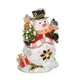 Holly Jolly Snowman Hinged Jewelry Box