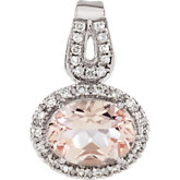 Morganite & Diamond Halo-Styled Pendant