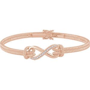 "14K Rose 1/8 CTW Diamond Bangle 7.5"" Bracelet"