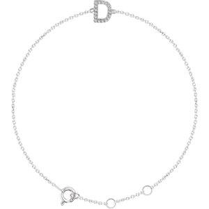 """14K White .06 CTW Diamond Initial """"D"""" 6-7"""" Bracelet"""