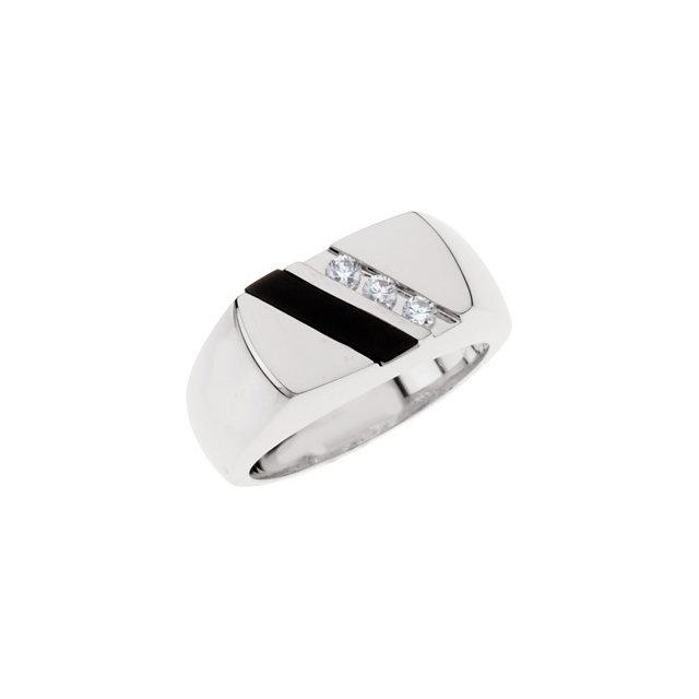 Sterling Silver Men-s Onyx & 1/10 CTW Diamond Ring