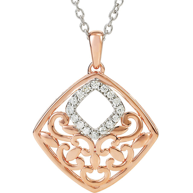 14K Rose Gold-Plated Sterling Silver .08 CTW Diamond 18