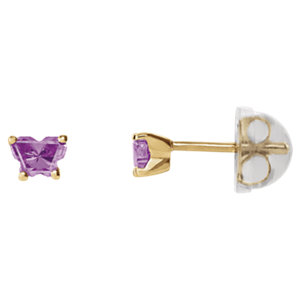 10K Yellow June Bfly® CZ Birthstone Youth Earrings with Safety Backs & Box