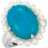 Genuine Chinese Turquoise & Freshwater Cultured Seed Pearl Ring