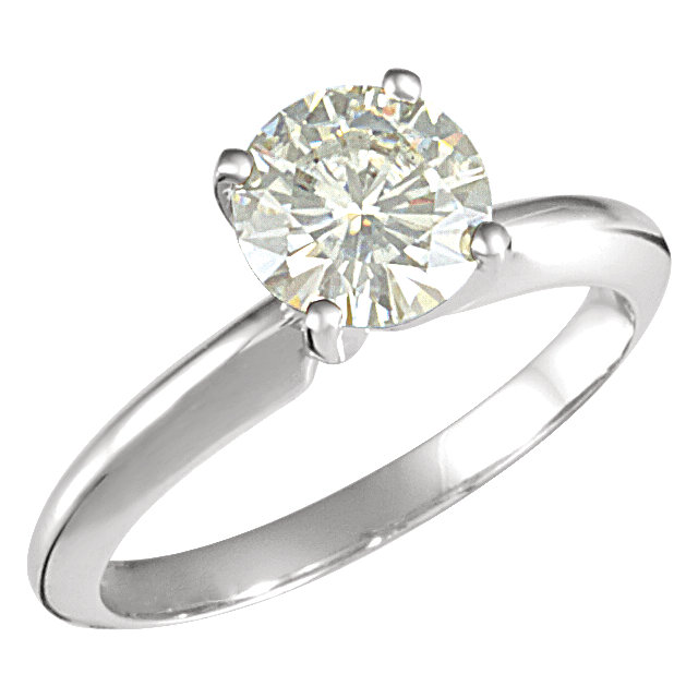 14K White 7mm Round Forever Classic™ Moissanite Solitaire Engagement Ring