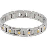 Stainless Steel Link Bracelet with 14KT Yellow Accents