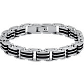 Stainless Steel Double Bike Link Bracelet with Black Rubber