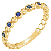 Blue Sapphire Beaded Stackable Ring or Mounting