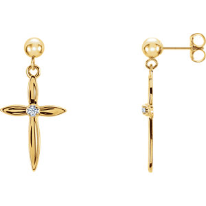 Diamond Cross Dangle Earring