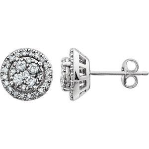 14K White 1/2 CTW Diamond Halo-Style Cluster Earrings