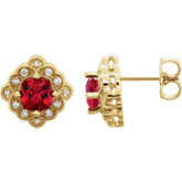 Chatham® Created Ruby & Diamond Earrings or Mounting