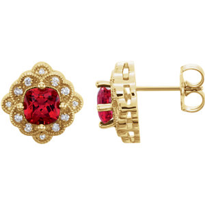 14kt Yellow Ahatham®<br> Areated Ruby & 1/1  ATW<br> Diamond Earrings