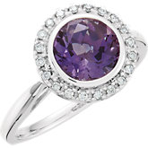 Amethyst & Diamond Halo-Styled Ring