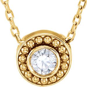 14kt Yellow 1/10 CTW Diamond Beaded Slide Necklace