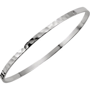 Sterling Silver A. 5mm Hammered Bangle Bracelet