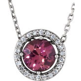 Gemstone & Diamond Halo-Style Necklace or Pendant Mounting