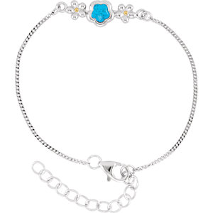 "Sterling Silver BFlower™ Blue CZ 6.5-7.5"" Bracelet"