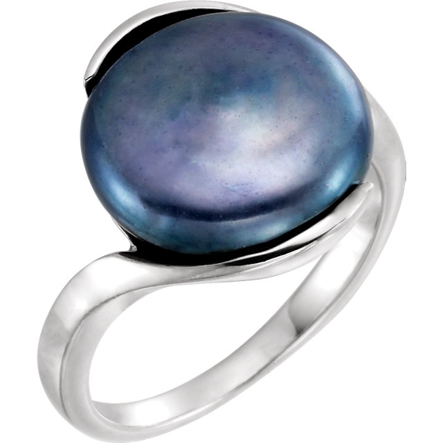 Sterling Silver Freshwater Cultured Black Coin Pearl Ring Size 6