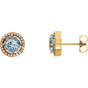 Gemstone & Diamond Halo-Styled Earrings or Mounting