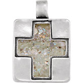 Cross Pendant with Ancient Roman Glass