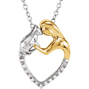 "Sterling Silver .06 CTW Diamond Lady & Cat Heart 18"" Necklace"