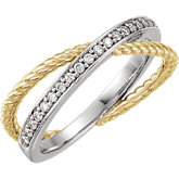 Diamond Criss-Cross Rope Design Ring or Mounting