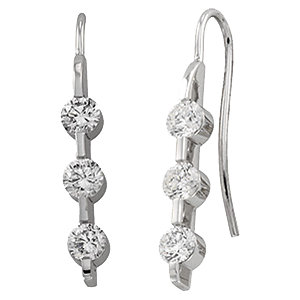 14K White 1 3/8 CTW Diamond 3 Stone Earrings