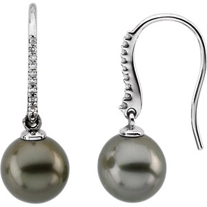 14K White Tahitian Cultured Pearls & 1/8 CTW Diamond Earrings