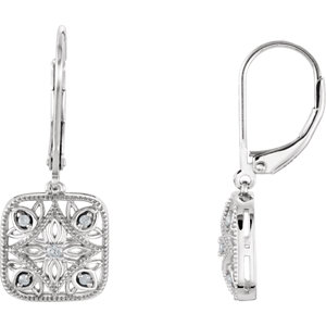 Sterling Silver 1/1  Diamond Accented Lever Back Earrings