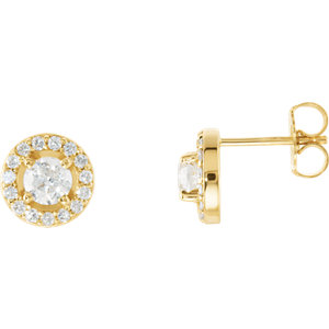 Diamond Halo-Styled Earring, Semi-Mount or Mounting