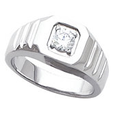 Men's Grooved Shoulder Solitaire Ring Mounting