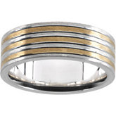 Gents Two Tone Sterling Silver and 18 kt yellow insert Fashion Ring