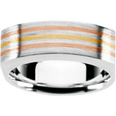 Gents Fashion Ring Sterling Silver and 18kt yellow / 18kt red Insert