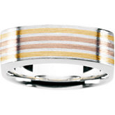 Gents Fashion Ring Sterling Silver and 18kt yellow / 18kt red Inserts