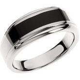 Stainless Steel Ring with Black Enamel