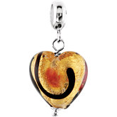 Kera® Gold & Ruby Murano Glass Heart Dangle