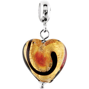 Sterling Silver 12mm Gold & Ruby Murano Glass Heart Dangle