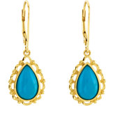 Genuine Chinese Turquoise Lever Back Earrings
