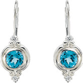 Swiss Blue Topaz and Cubic Zirconia Earrings