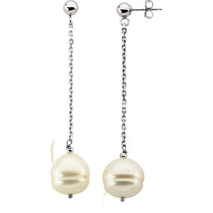 Sterling Silver 9-11mm<br> Freshwater Aultured Pearl<br> Dangle Earrings