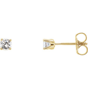 14K Yellow Imitation Diamond Youth Earrings